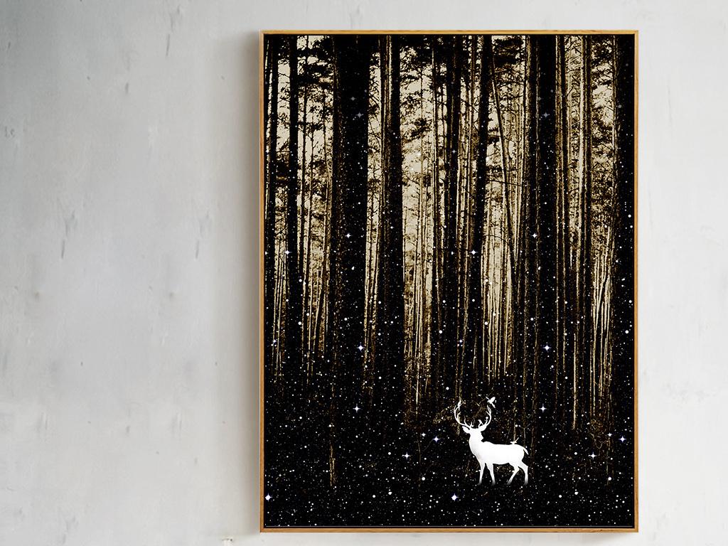 唯美意境风景森林麋鹿客厅装饰画挂画