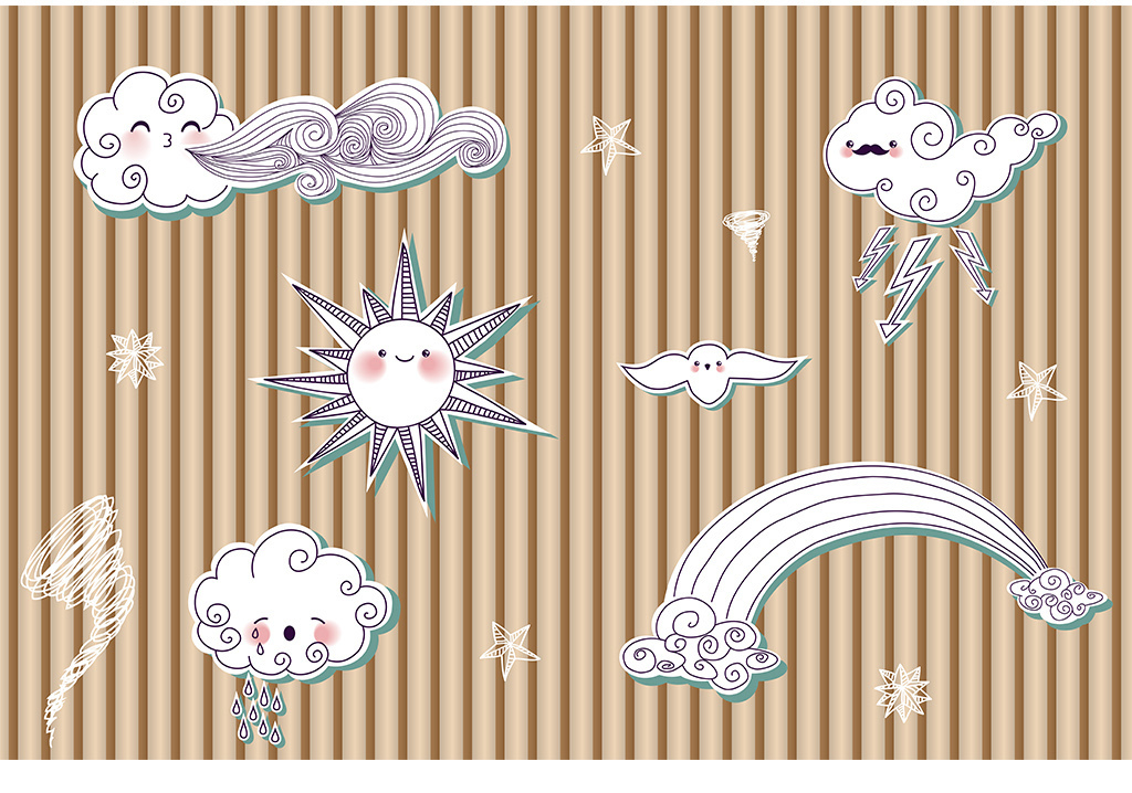 木质条纹手绘立体印花云朵太阳小鸟背景墙纸