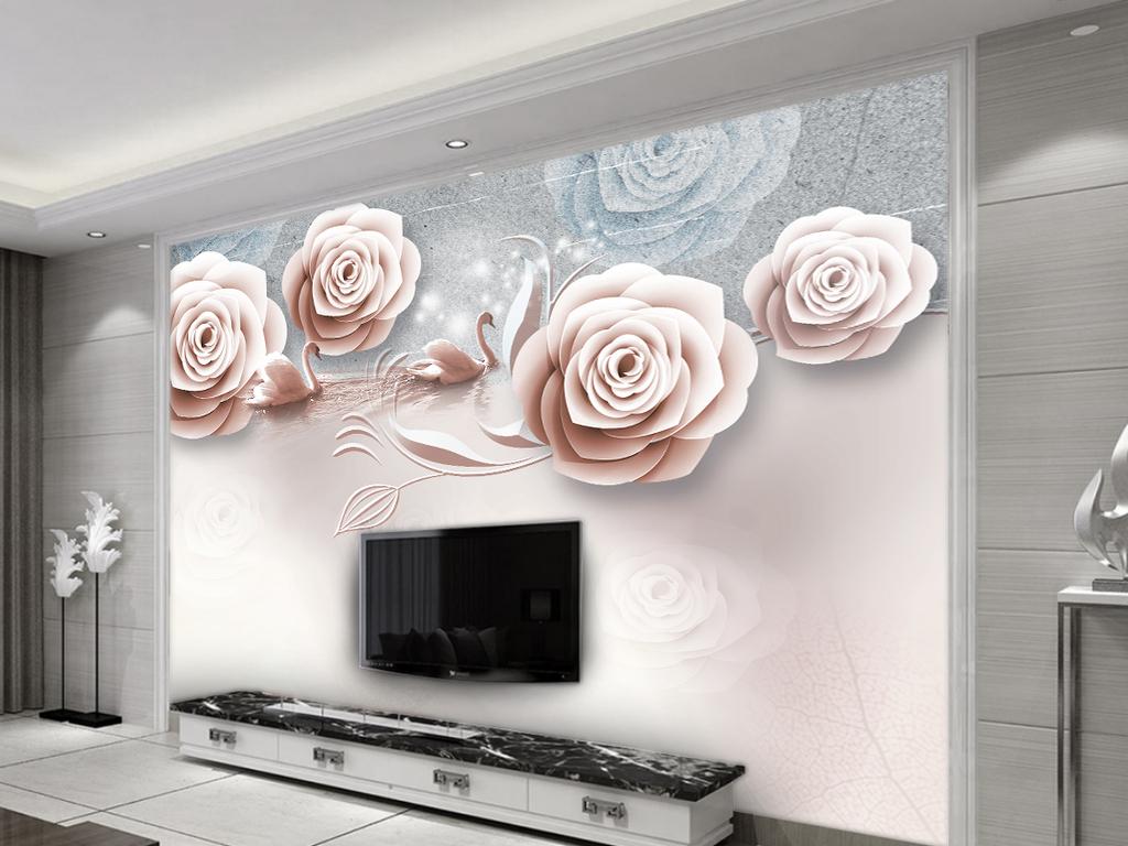欧式复古花天鹅抽象电视背景墙