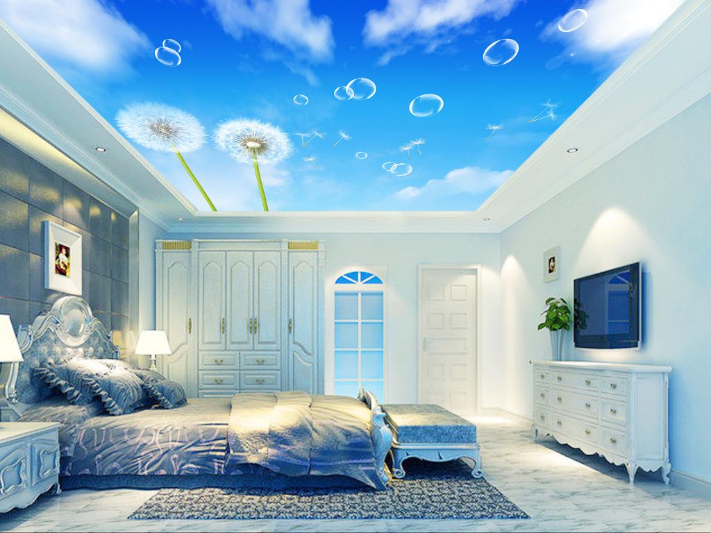 高清蒲公英蓝天白云顶板天花板吊顶壁纸画