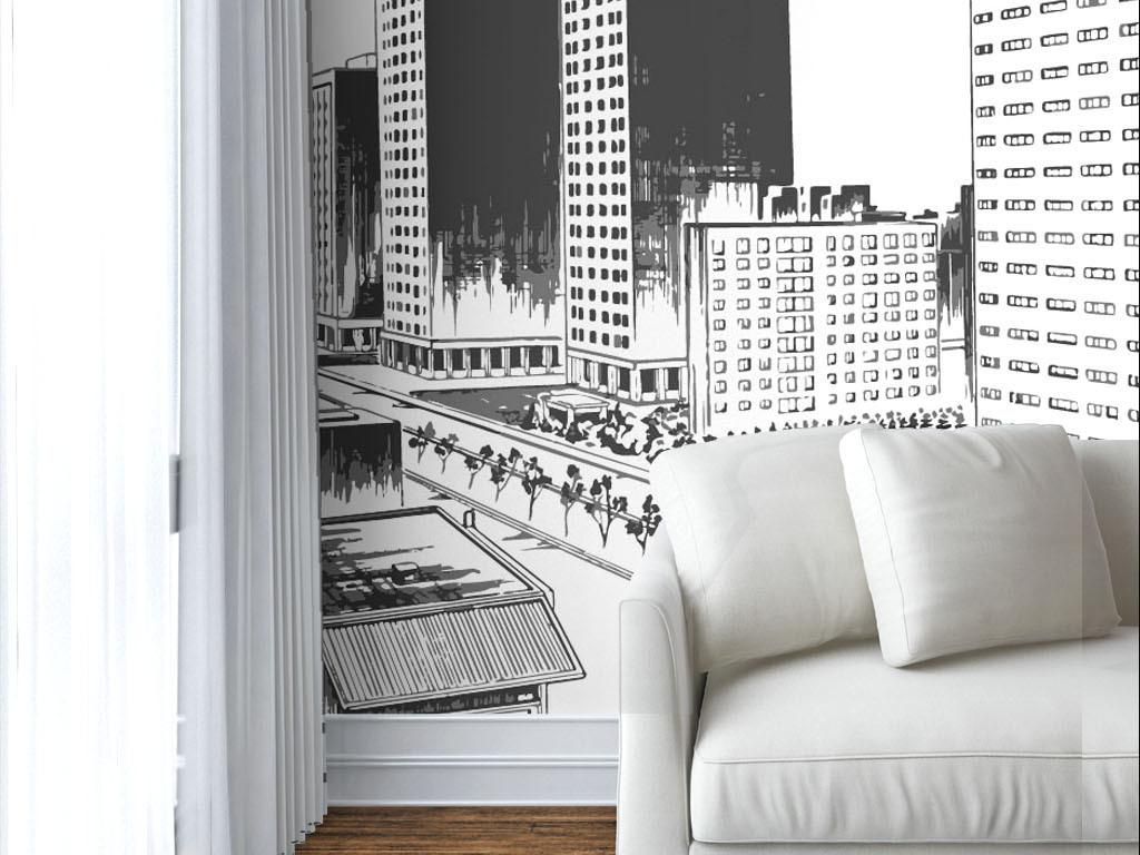 现代简约手绘建筑黑白墙纸