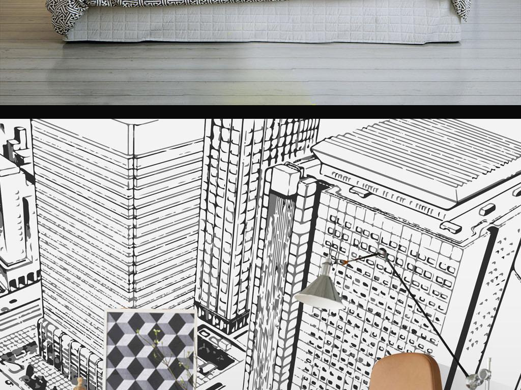 街道手绘黑白街道高楼黑白街道现代黑白城市风景城市