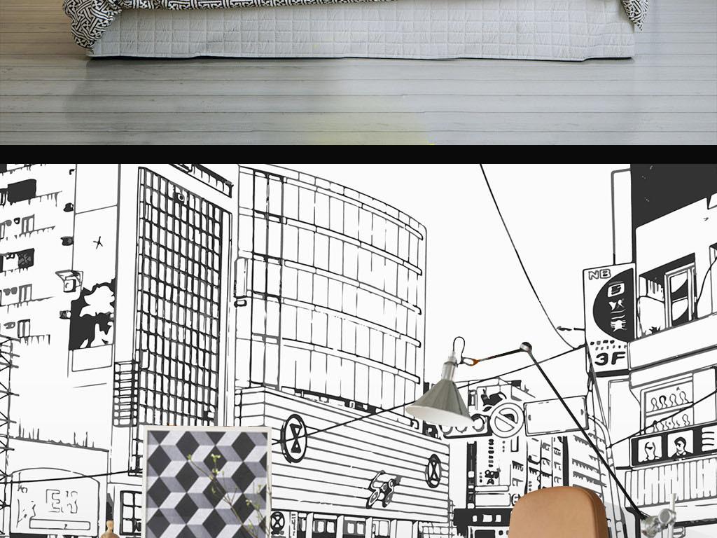 现代黑白简约建筑手绘线条墙纸