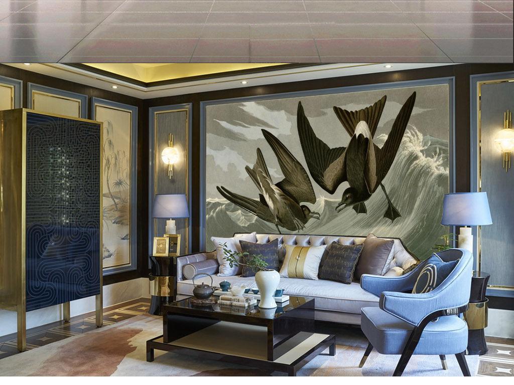 软装绘画手绘古典复古挂画壁画中堂画冰晶画杜邦欧美