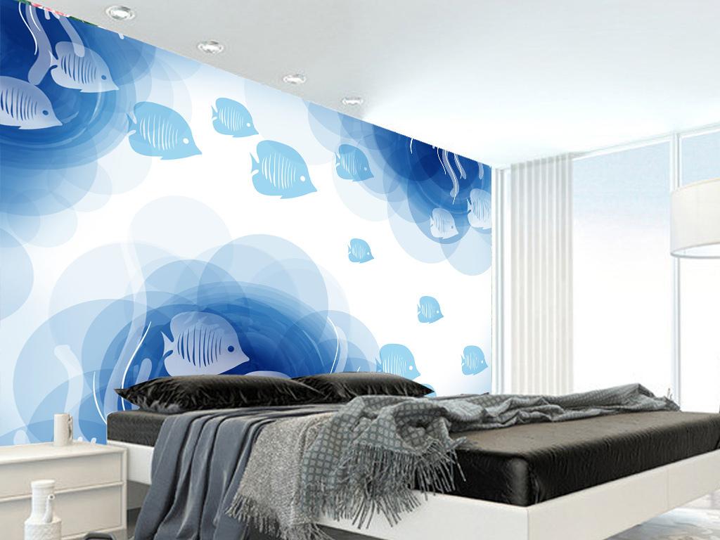 手绘海底世界小鱼伙伴艺术背景墙