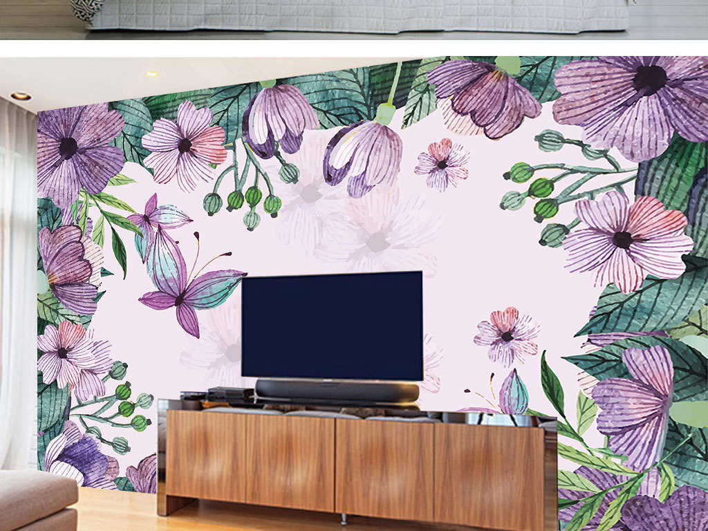 温馨手绘花卉客厅餐厅卧室背景