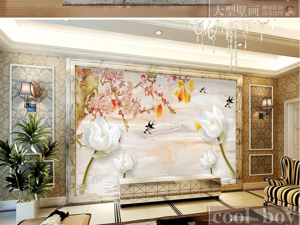 玉石纹电视墙形象墙客厅电视背景墙石板墙木雕玉雕风