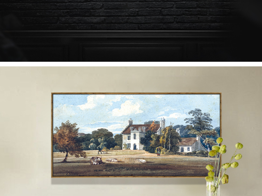 欧洲草地树木建筑油画无框画图片