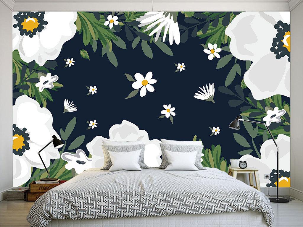 背景墙|装饰画 电视背景墙 手绘电视背景墙 > 北欧唯美花卉客厅餐厅卧