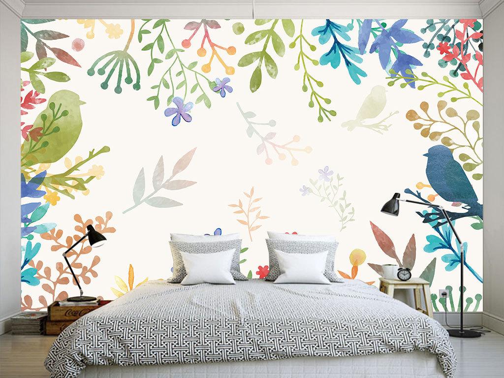 手绘花鸟客厅餐厅卧室分层背景