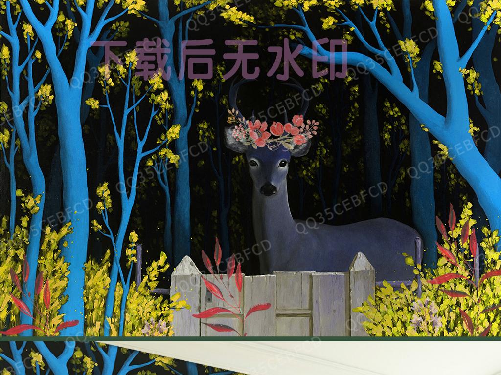 彩铅手绘图片糜鹿