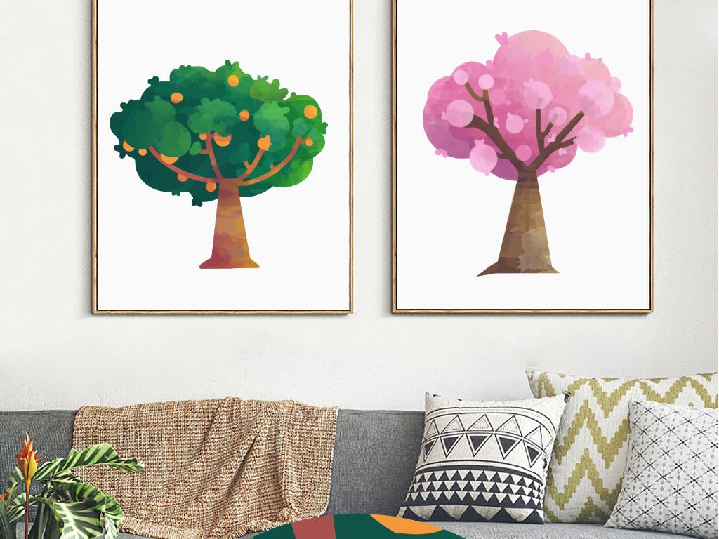 北欧简约水彩抽象树无框画