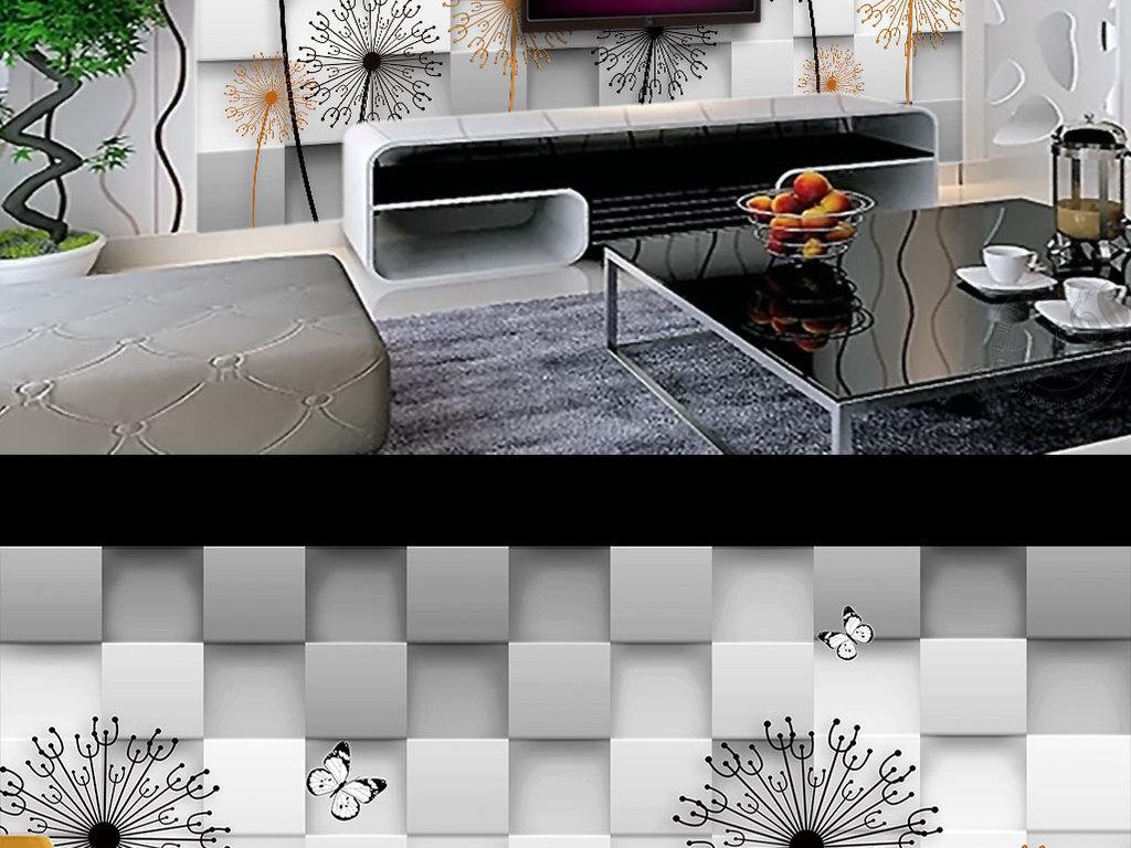 背景墙|装饰画 电视背景墙 手绘电视背景墙 > 手绘线条蒲公英极简花卉