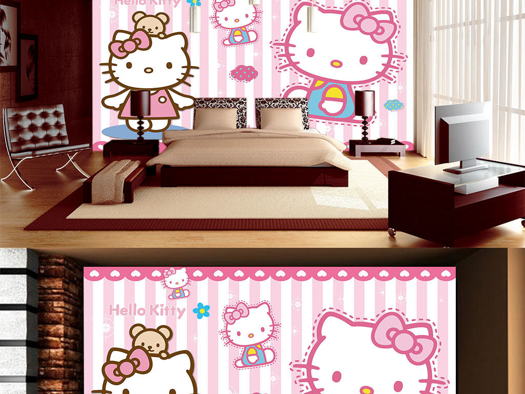 儿童壁纸可爱猫咪儿童房背景墙