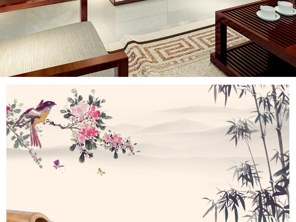 山水水墨电视背景墙中式背景墙壁画图片