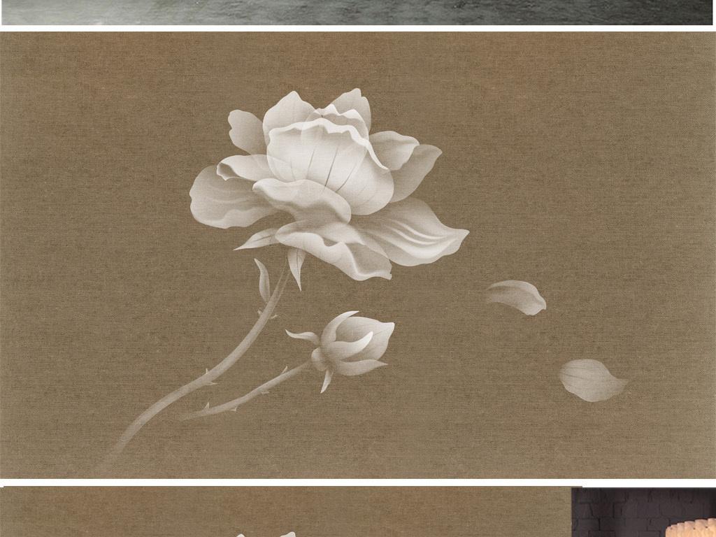 梦幻花朵复古背景墙新中式手绘花鸟中国风