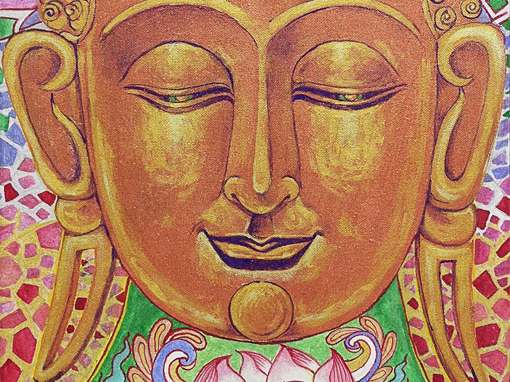 如来佛祖佛像佛教手绘人物西方三圣花莲花如来佛进口画芯画芯英文美克