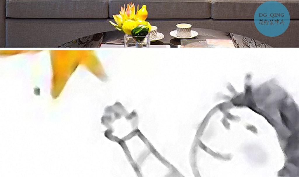 挂星星创意现代儿童房手绘水彩家居装饰画