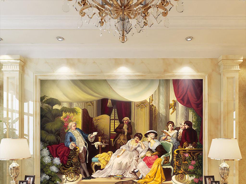 欧式宫廷人物油画背景墙