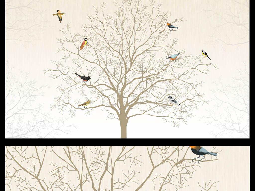 大气花鸟树枝清新中式艺术温馨背景墙图片