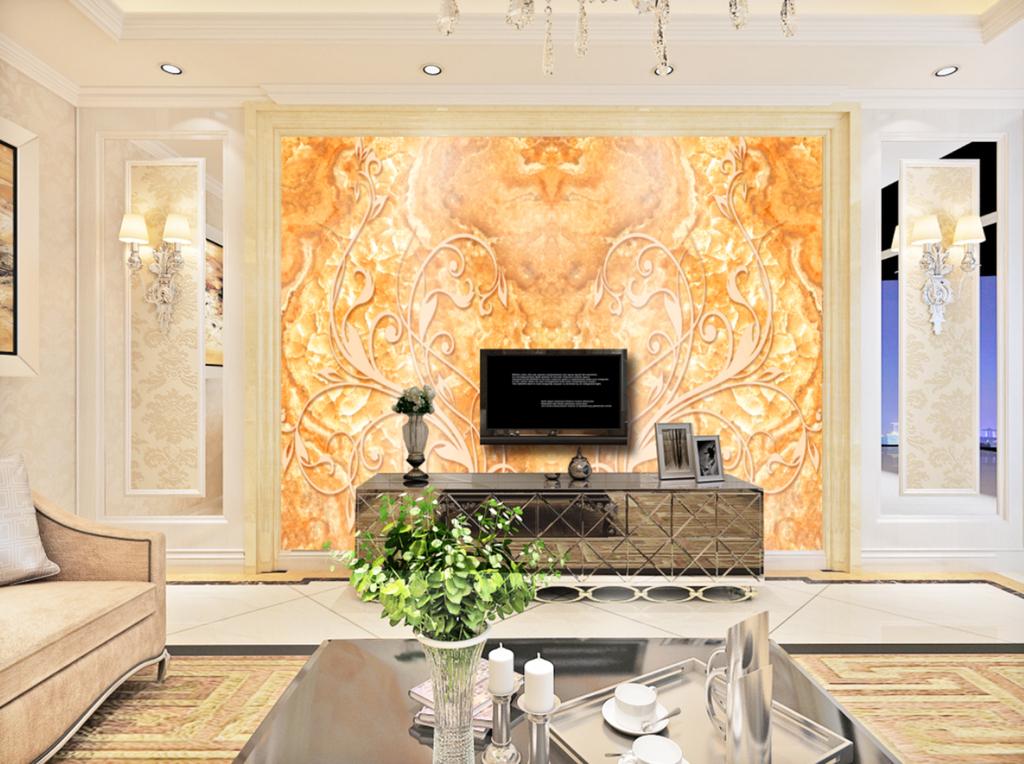 欧式金色大理石纹浮雕花纹山水大理石电视背景墙3d电视背景墙艺术玻璃图片