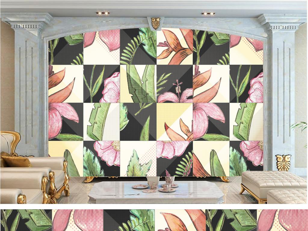背景墙|装饰画 电视背景墙 手绘电视背景墙 > 北欧简约热带植物背景墙