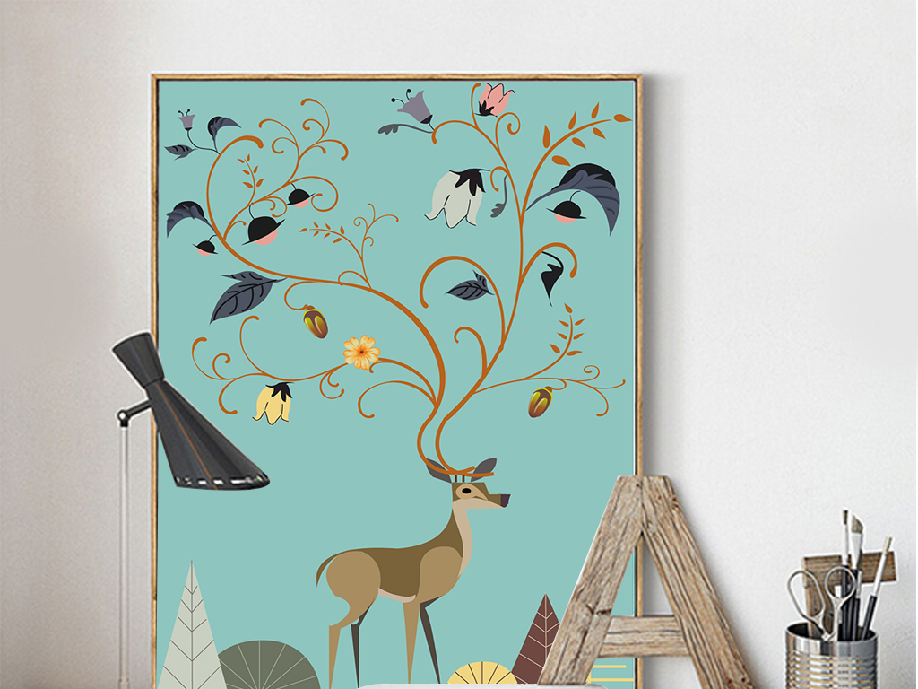北欧风格自然手绘无框画麋鹿装饰画