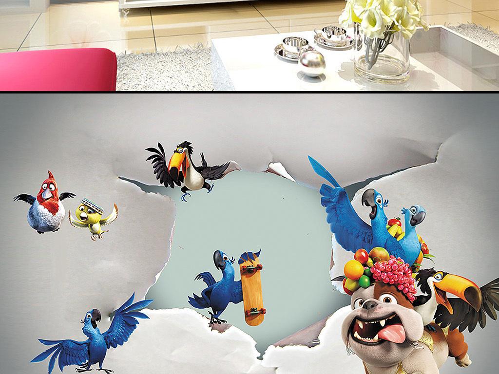 卡通创意动物总动员电视背景墙