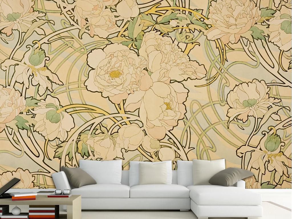 手绘花卉油画背景墙