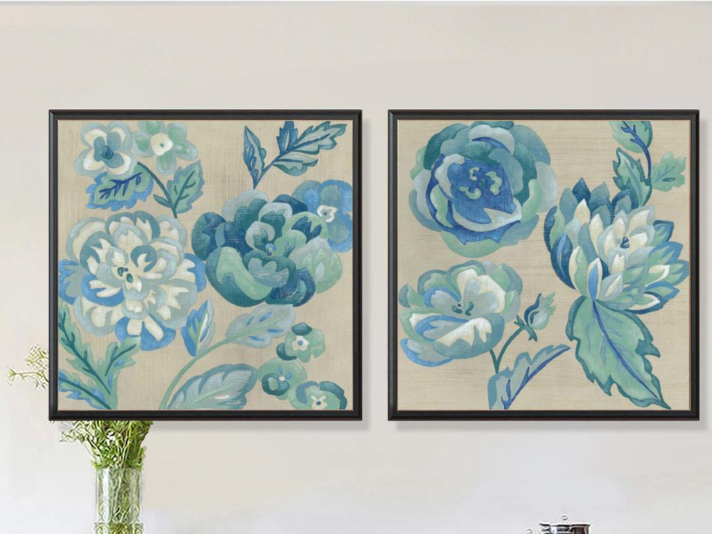 背景墙|装饰画 其他 装饰画 > 美克美式蓝色现代简约花卉素材图案装饰