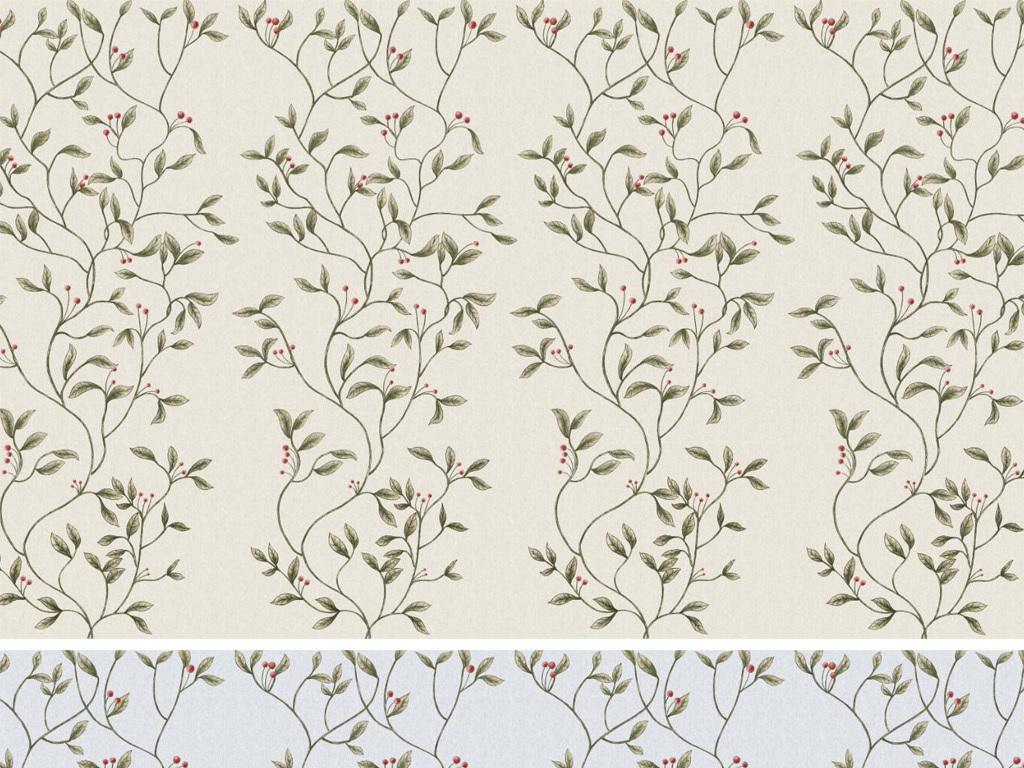 手绘美式田园花卉复古背景墙墙纸图片