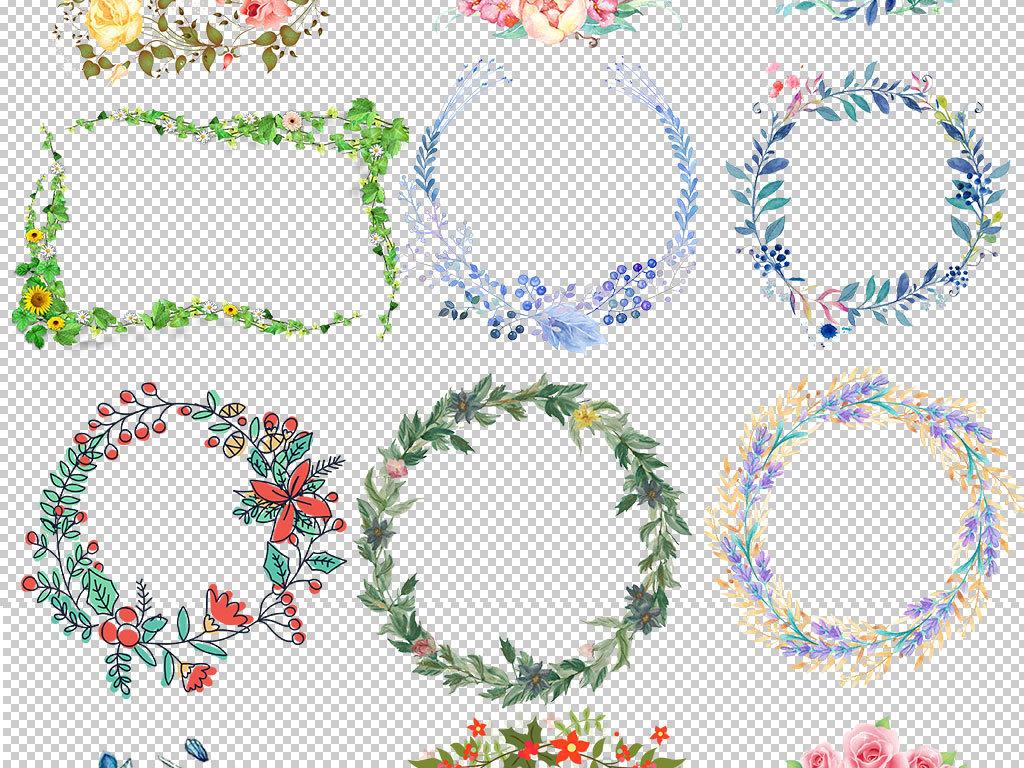 可爱手绘花朵花环边框png素材
