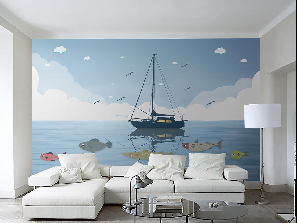 手绘大海背景墙