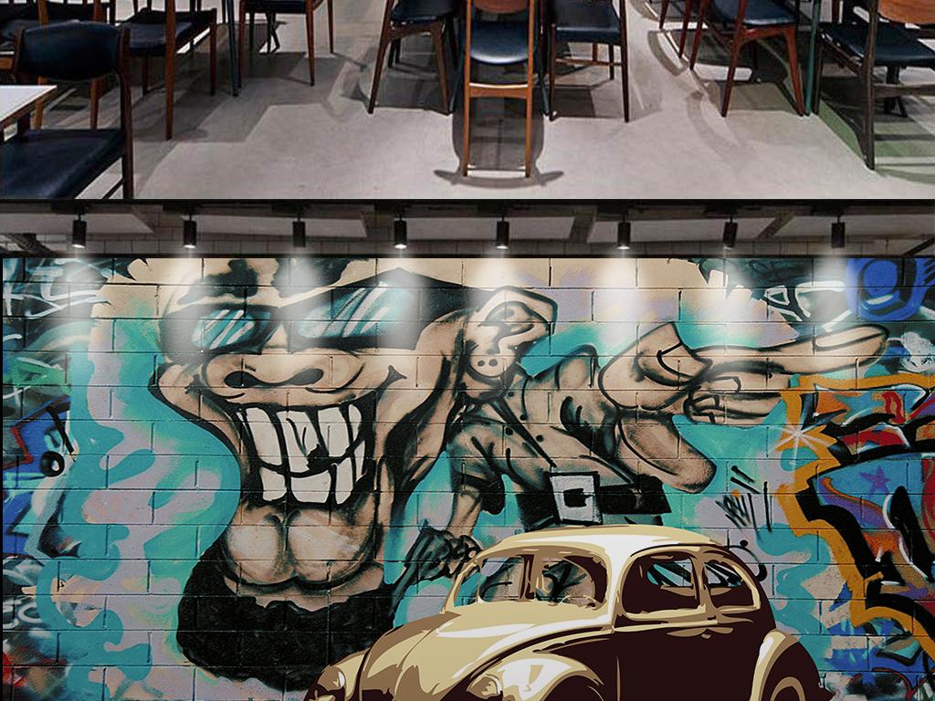 手绘涂鸦汽车背景墙