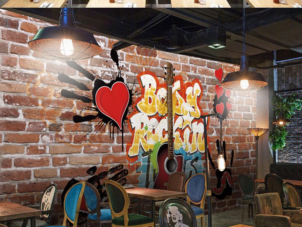 壁画欧美复古手绘怀旧欧式酒吧ktv咖啡网吧砖墙黑色涂鸦嘻哈