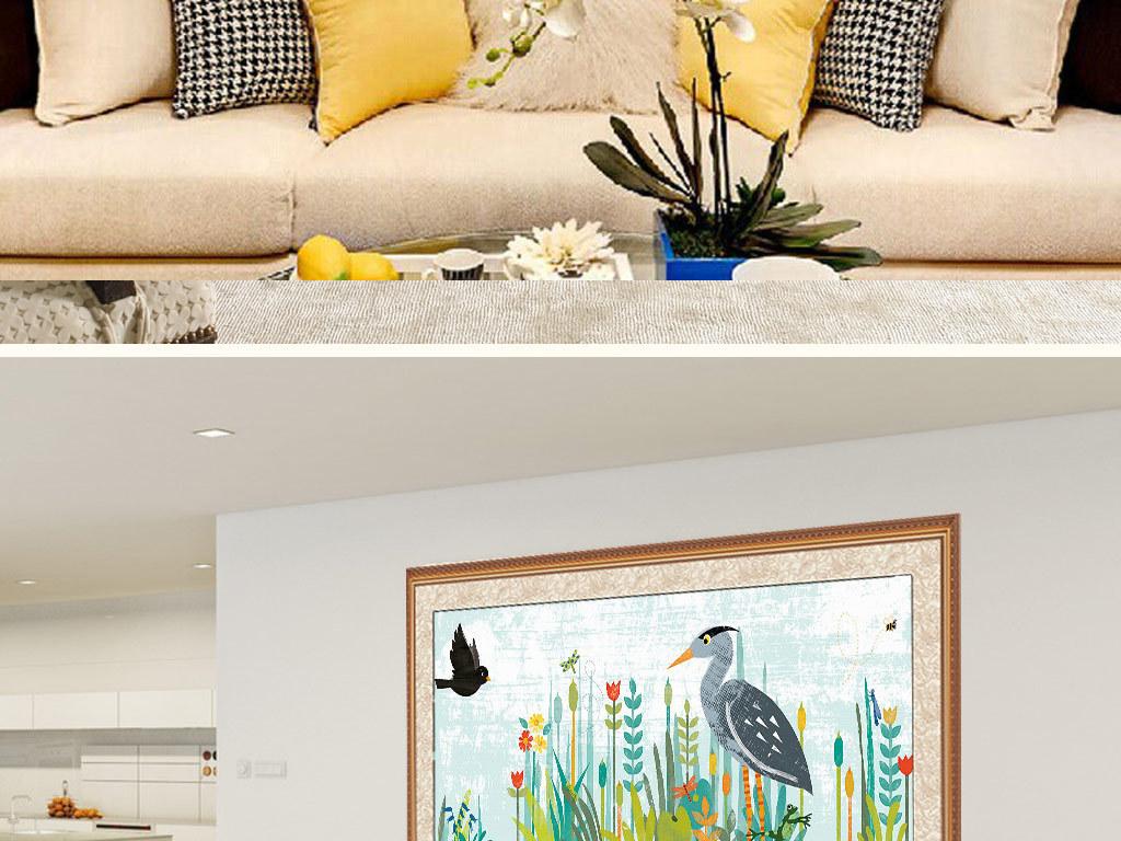 软装绘画古典挂画手绘花鸟客厅沙发装饰画高清巨幅