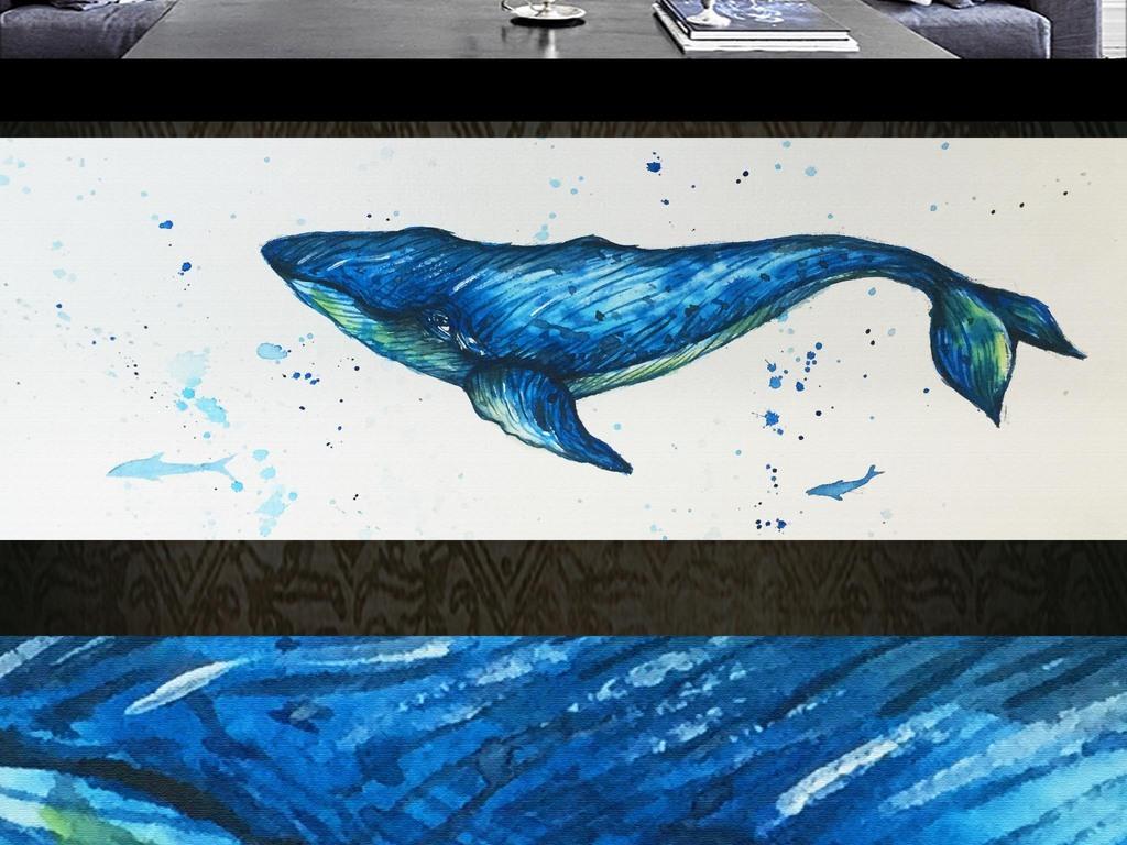 北欧手绘鲸鱼油画客厅卧室床头画