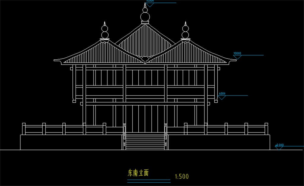 设计图仿古建筑宫殿cad古建cad图纸大殿图纸殿阁cad