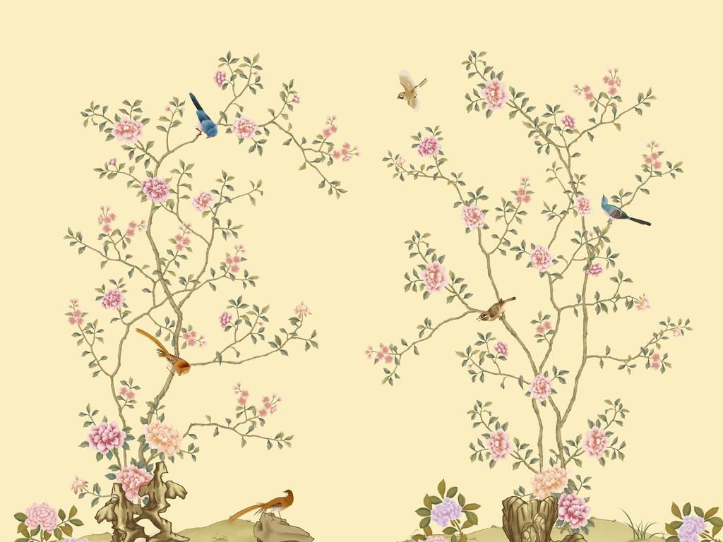 高清花鸟素雅花鸟壁画现代简约花鸟中式图片