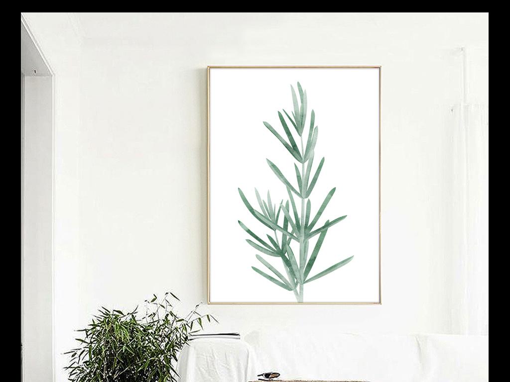绿植高清装饰画简约风格小清新风格手绘水彩手绘风格进口画芯欧美画芯