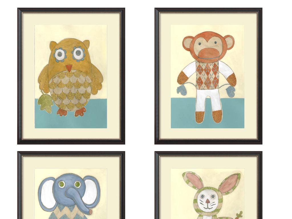 可爱动物猴子大象小白兔小鸡手绘油画装饰画