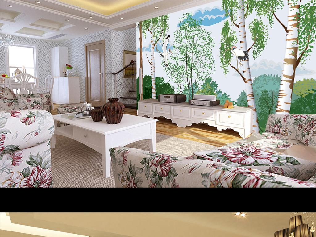 电视墙手绘背景墙现代简约松鹤橡树客厅装饰