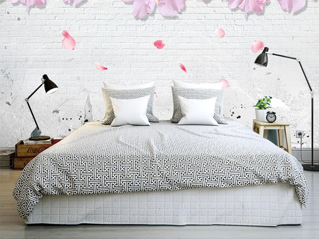 北欧风格复古樱花砖墙背景墙图片