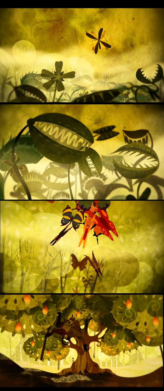 唯美复古森林卡通动物背景动态视频图片设计素材_高清