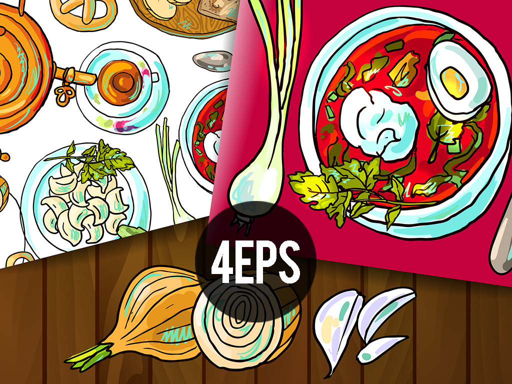 平面|广告设计 其他 插画|元素|卡通 > 手绘西餐美食矢量菜单菜谱海报