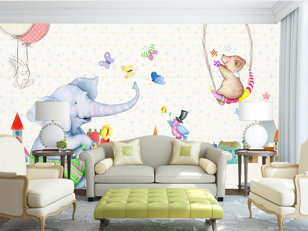 可爱时尚高清壁画墙纸壁纸复古北欧欧式美式欧美田园