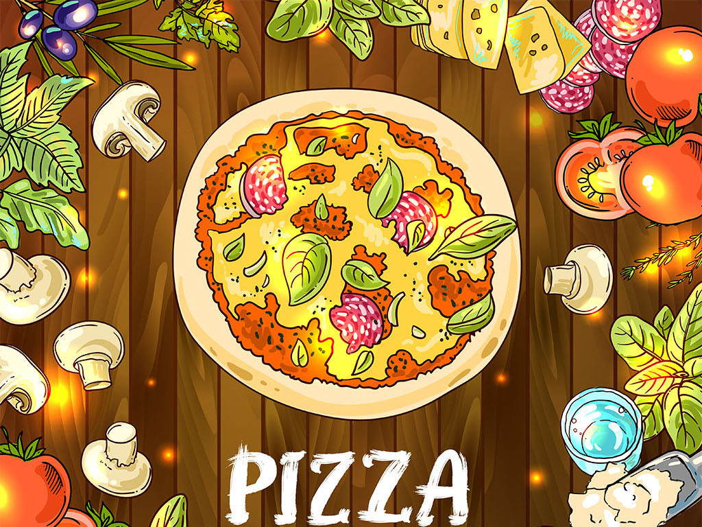 菜单插画菜谱披萨手绘插画手绘美食时尚插画披萨店意大利手绘意大利