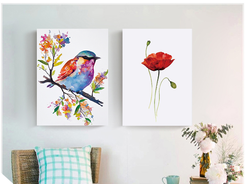 梦幻浪漫清新手绘彩色水彩花卉小鸟无框画