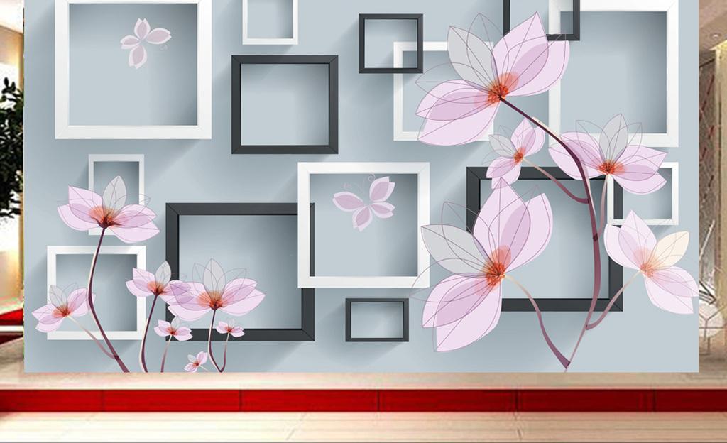3d立体方块手绘玉兰花电视背景墙