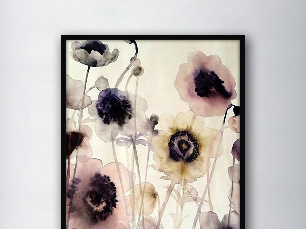 罂粟花手绘水墨水彩北欧现代欧式家居装饰画